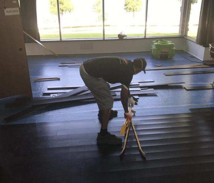 Removing wood floors after a water loss