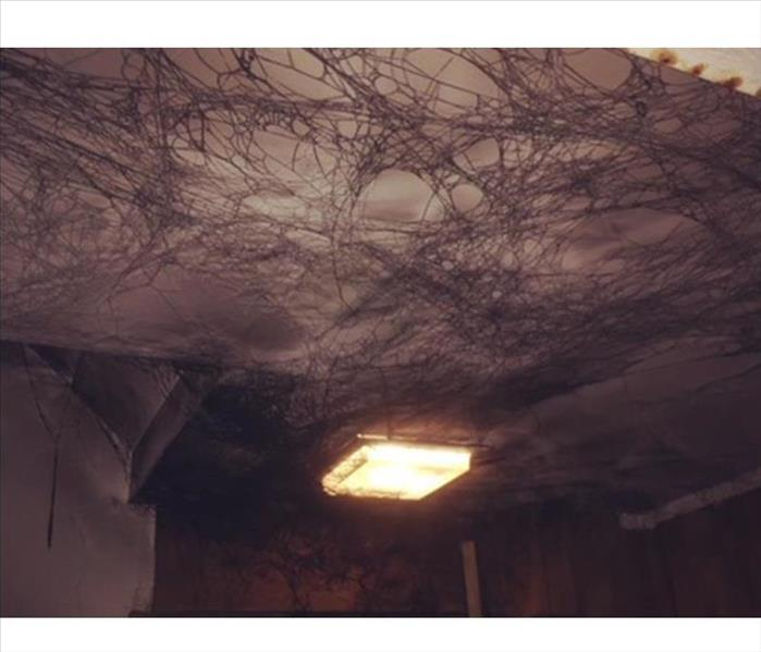 Soot webs on ceiling after fire damage