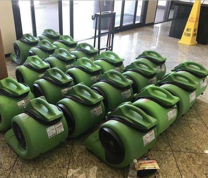 Many air movers placed inside a building